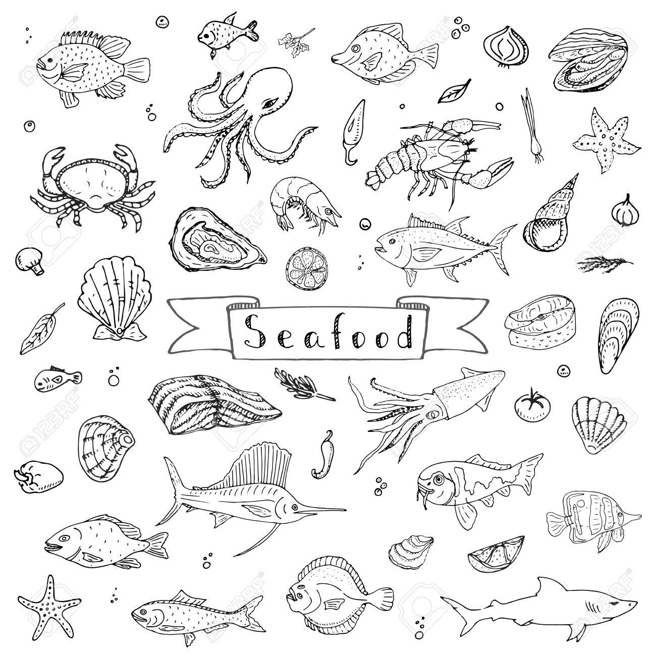 1300x1300 Hand Drawn Doodle Seafood Icons Set Vector Illustration Seafood