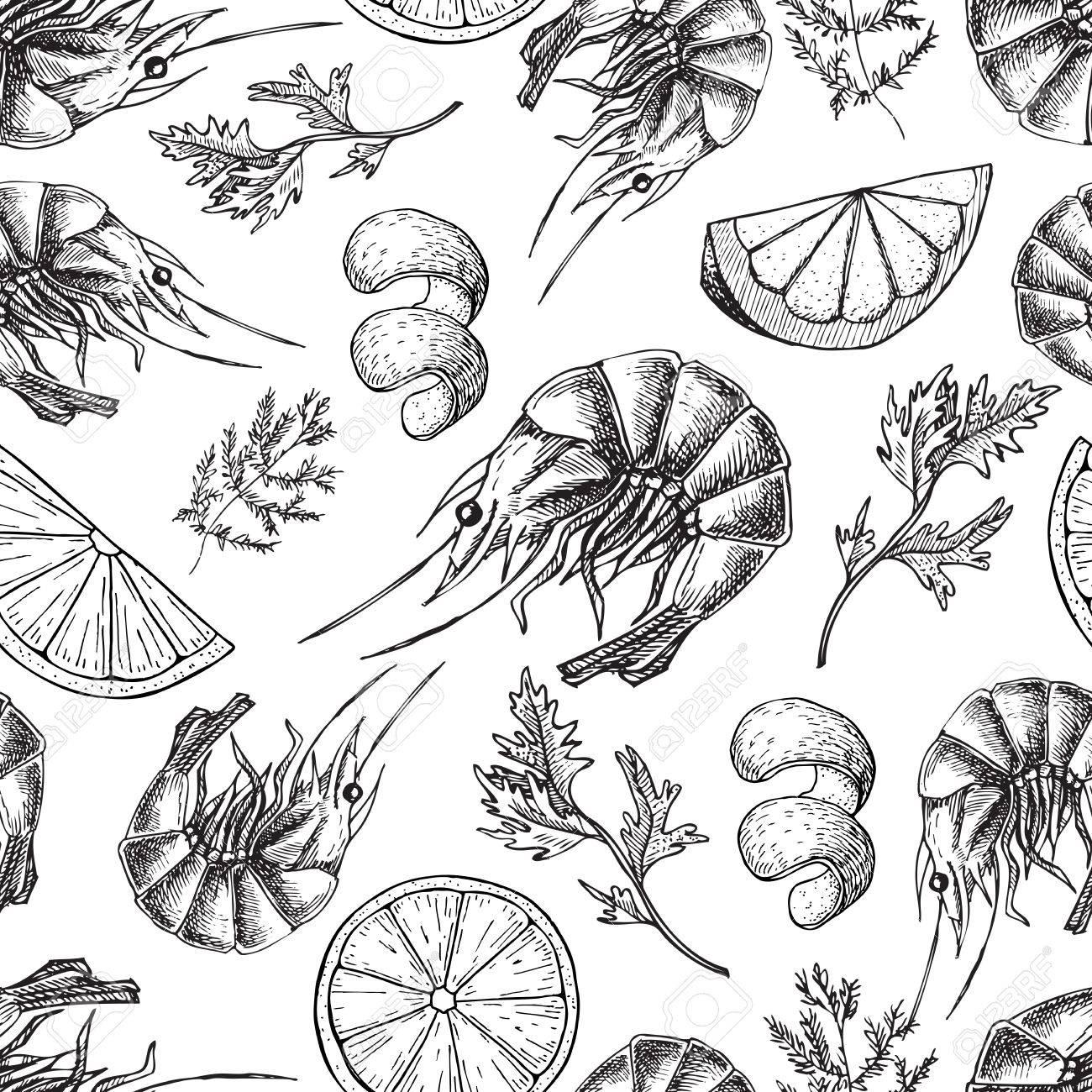 1300x1300 Shrimp Vector Drawing. Seamless Seafood Pattern. Shrimp Food