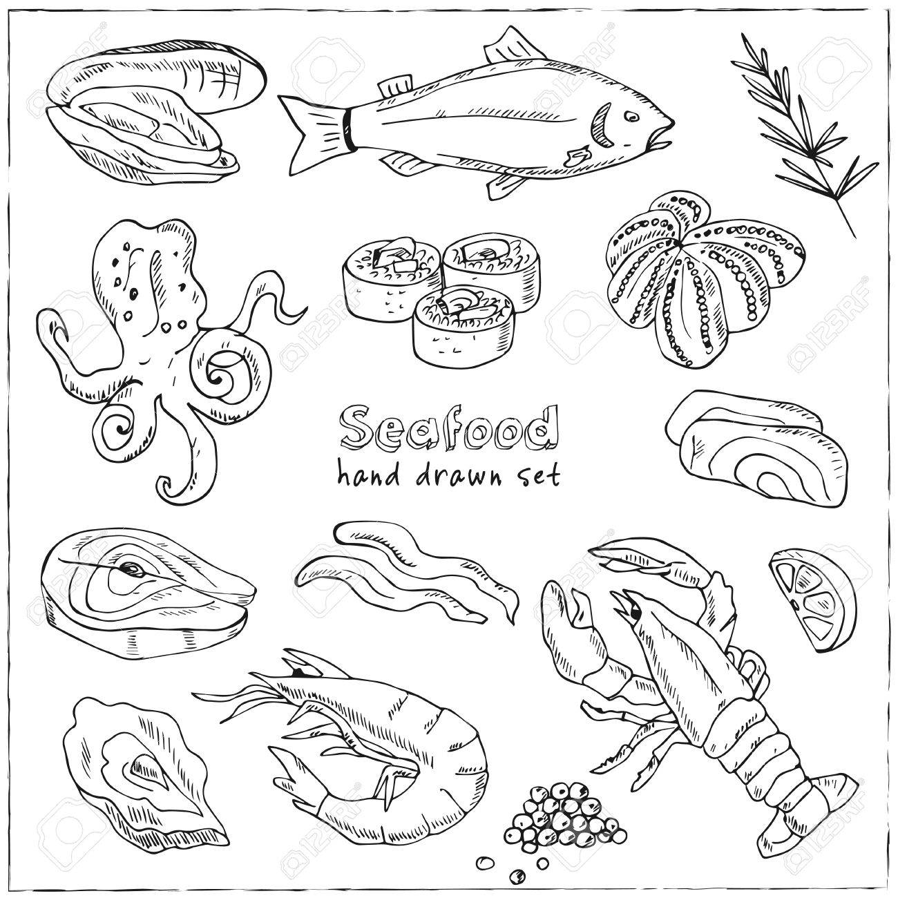 1300x1300 Vector Frame With Hand Drawn Seafood Illustration