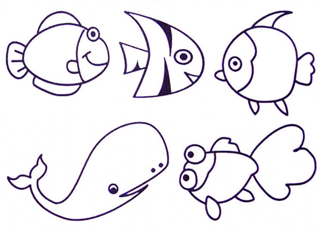 1024x748 Drawing Of Sea Animals Sea Animals And Shells Collection Hand