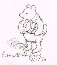 200x225 Eh Shepard's Signed Drawing Of Winnie The Pooh