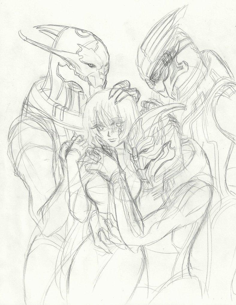 788x1015 Mass Effect] Saren Shepard Nihlus Garrus Sketch By Rmtg