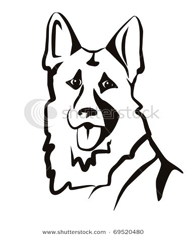 371x470 Black And White German Shepherd Drawing Photo