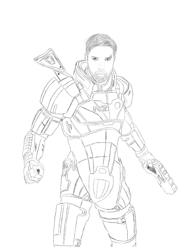 788x1013 Commander Shepard Lineart By Kabrex