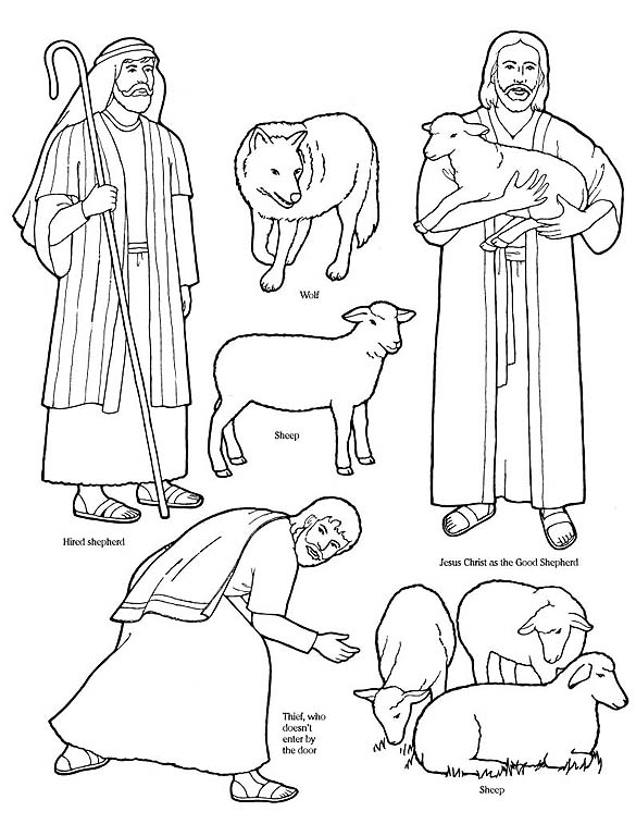 585x768 Sheep And Shepherd Coloring Pages