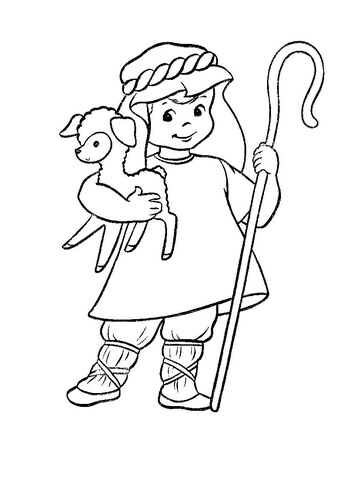 341x480 Shepherd With A Lamb In His Hands Coloring Page Free Printable