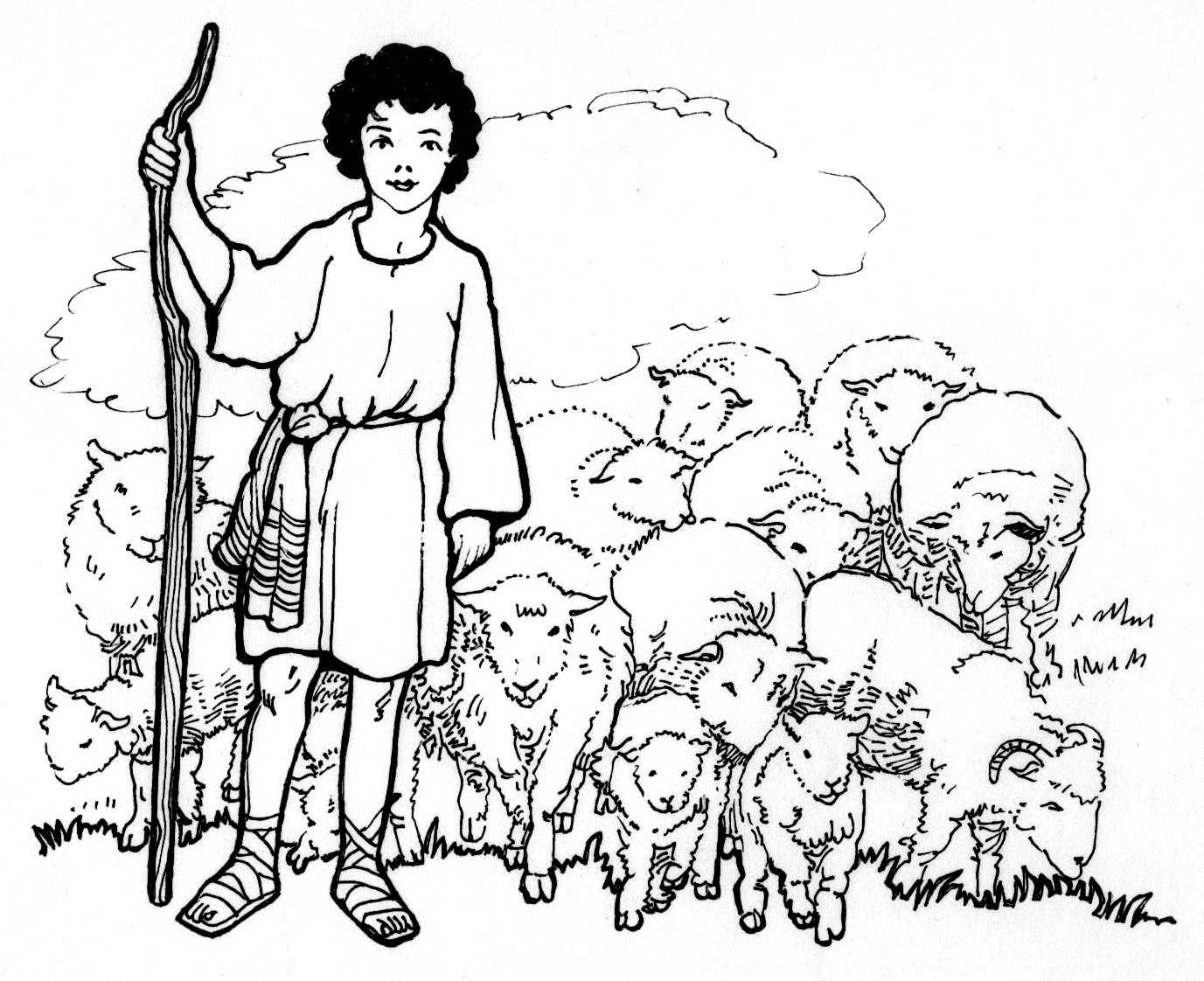 1377x1122 The Shepherd Boy Coloring Page Download