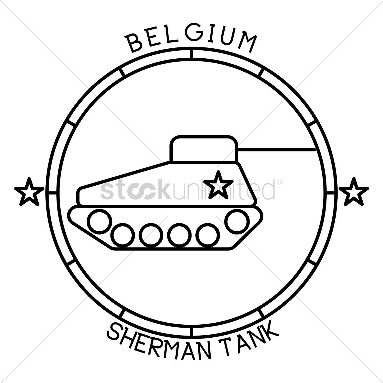 1300x1300 Sherman Tank Vector Image