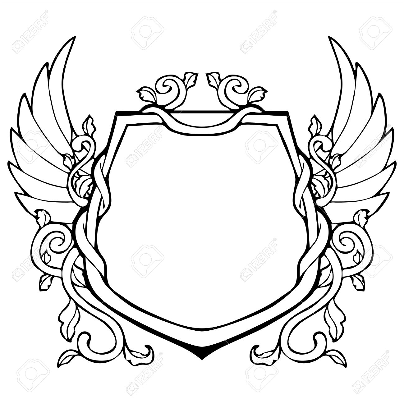 1300x1300 Glory Frame In Shield Shape With Wing Vintage Drawing Royalty Free