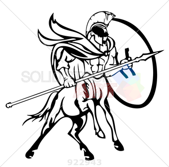 340x336 Stock Photo Of Centaur Soldier Holding Shield And Spear Black