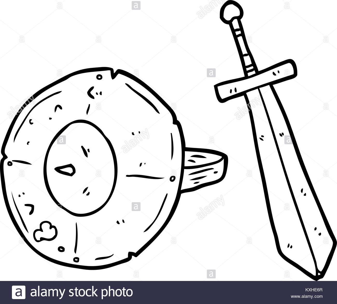 1300x1174 Line Drawing Of A Old Gladiator Shield And Sword Stock Vector Art