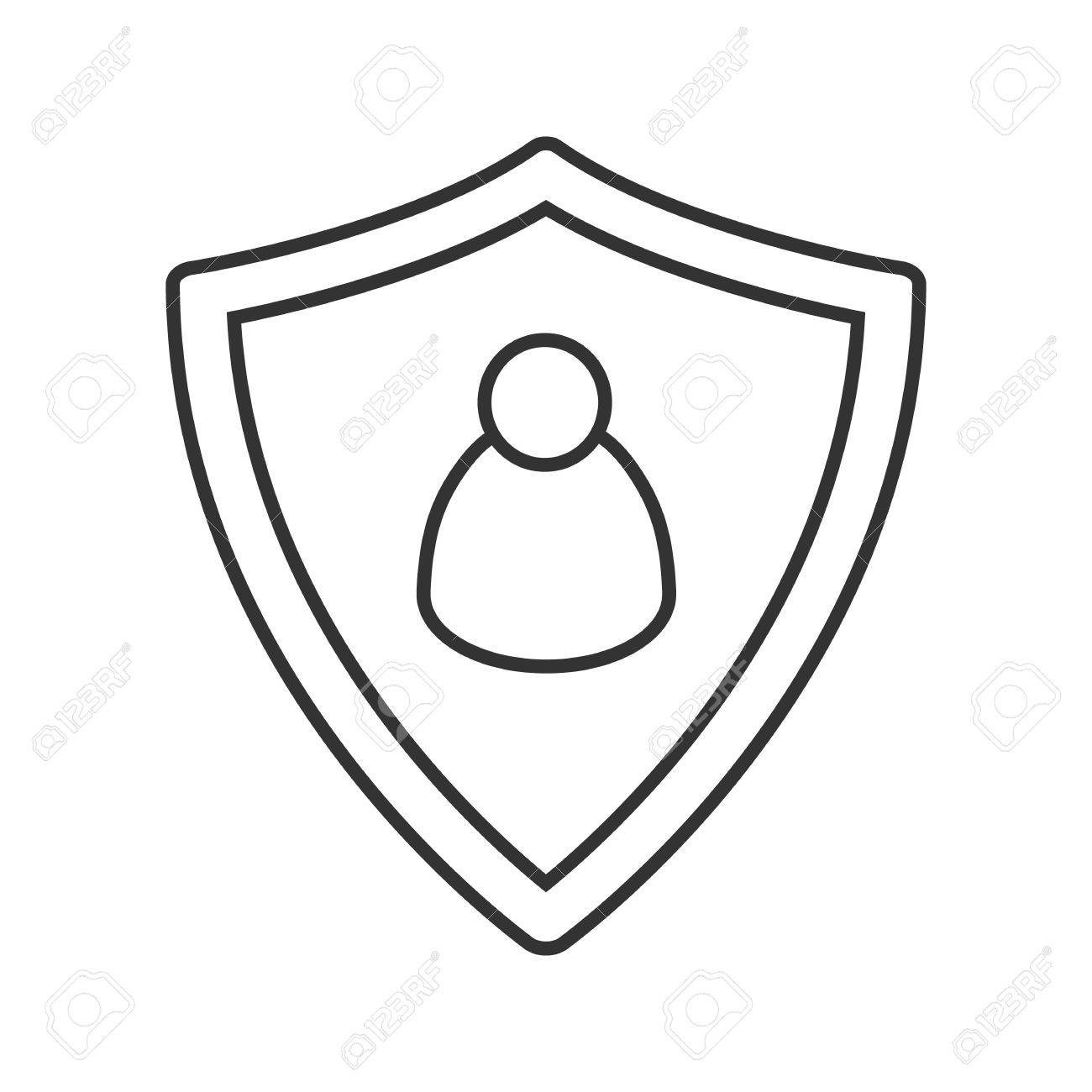 1300x1300 User Security Linear Icon. Thin Line Illustration. Protection