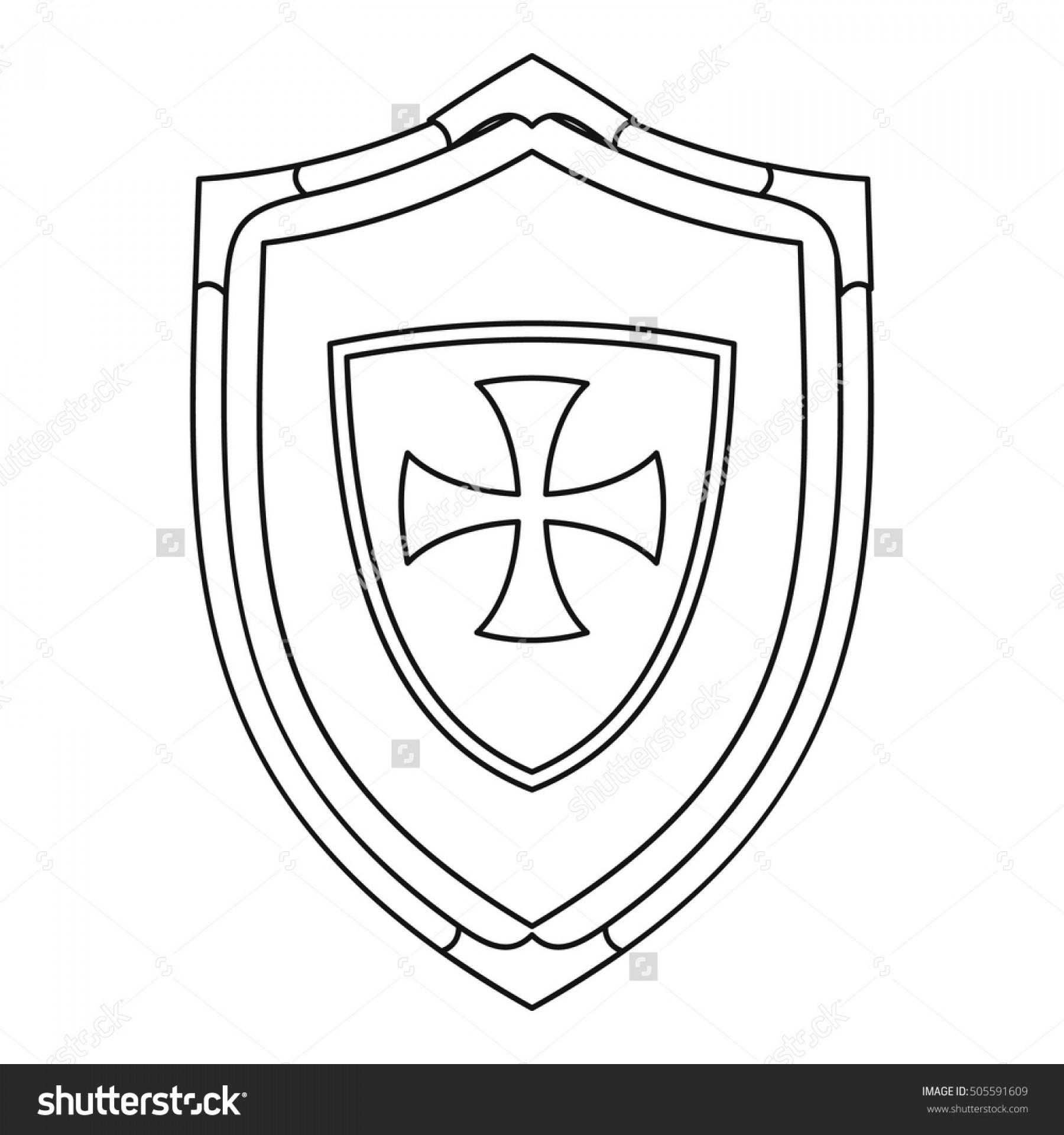 1800x1920 Best Free Hd Shield Cross Icon Outline Illustration Vector Image
