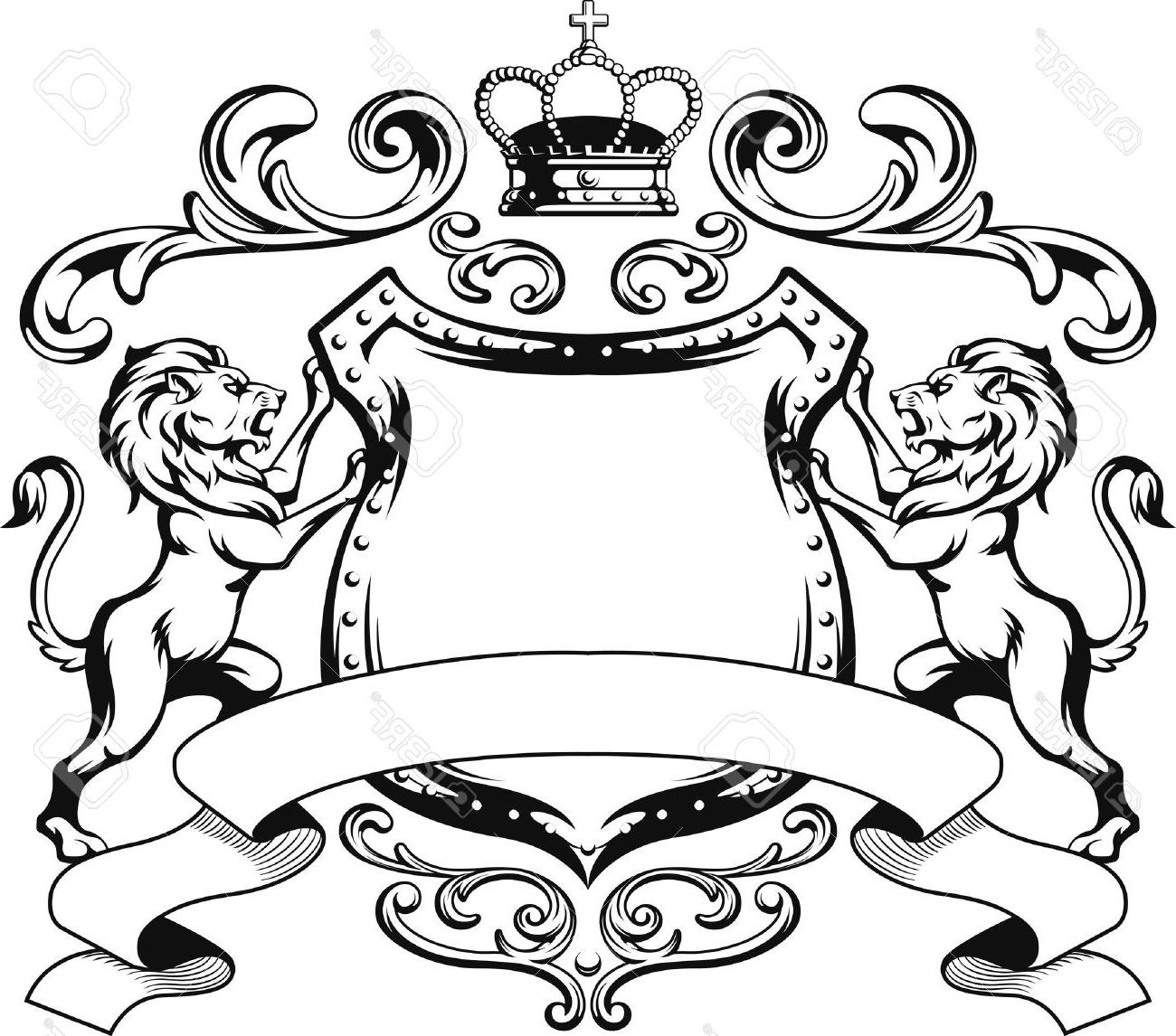 1300x1146 Best Free Heraldic Lion Shield Crest Silhouette Stock Vector Drawing