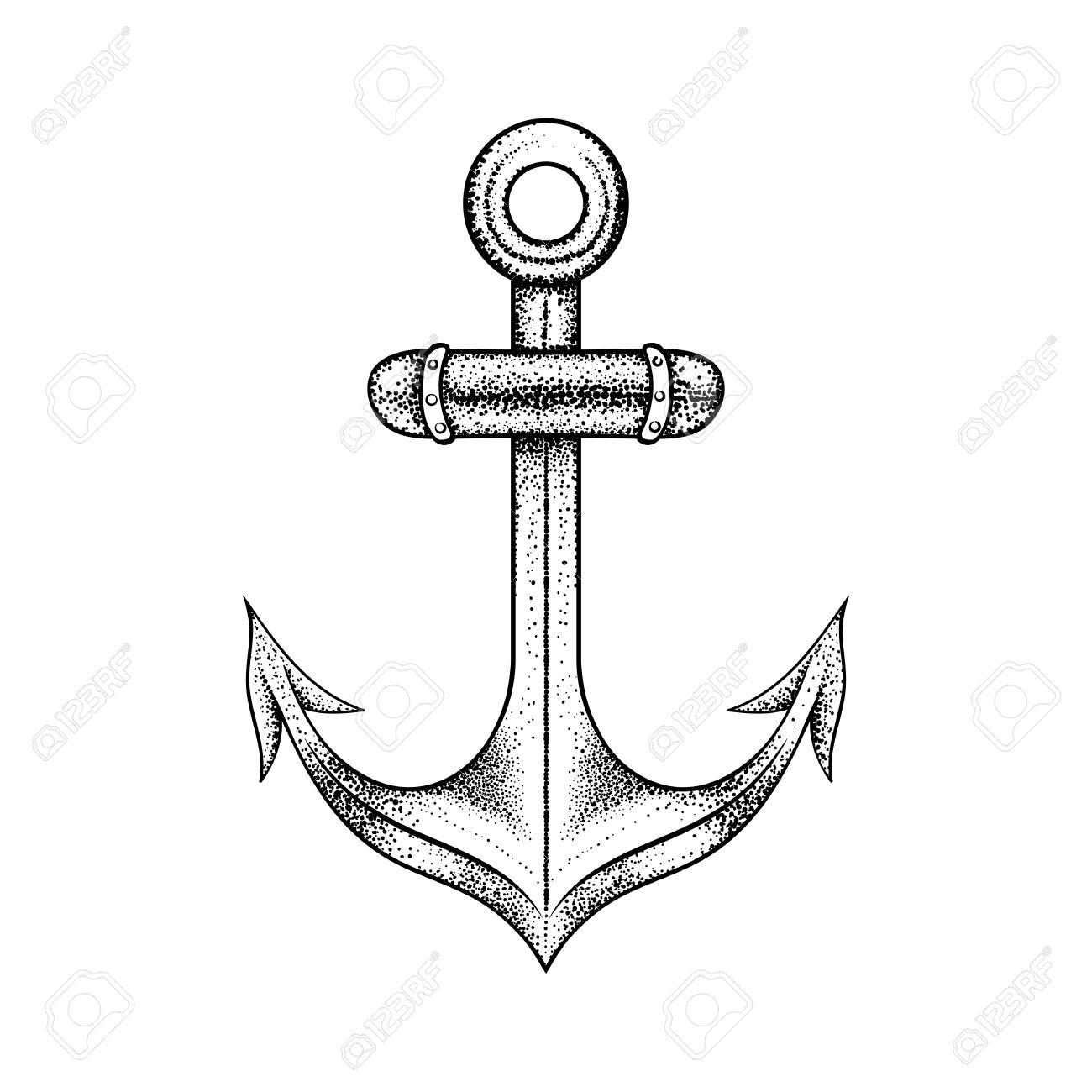 1300x1300 Hand Drawn Elegant Ship Sea Anchor, Black Sketch For Tattoos