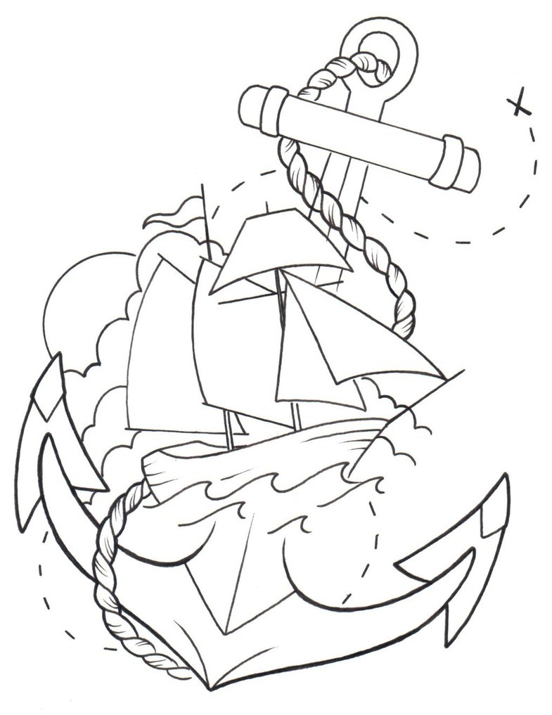785x1017 Anchor, Ship Line Drawing By Cmrutledge