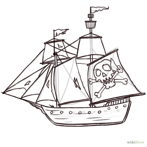 500x500 How To Draw A Pirate Ship 8 Steps (With Pictures)
