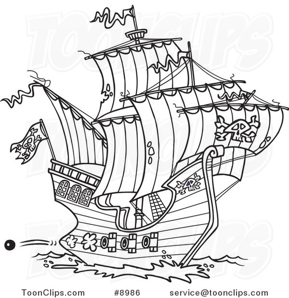 581x600 Cartoon Black And White Line Drawing Of A Pirate Ship Shooting