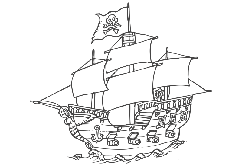 800x550 Pirate Ship Wall Decal Easy Decals