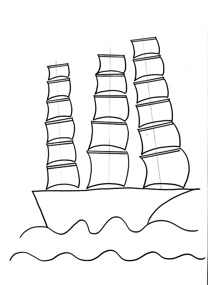 700x960 Sailing Ship Drawing For Kids Step By Step Drawing Tutorial