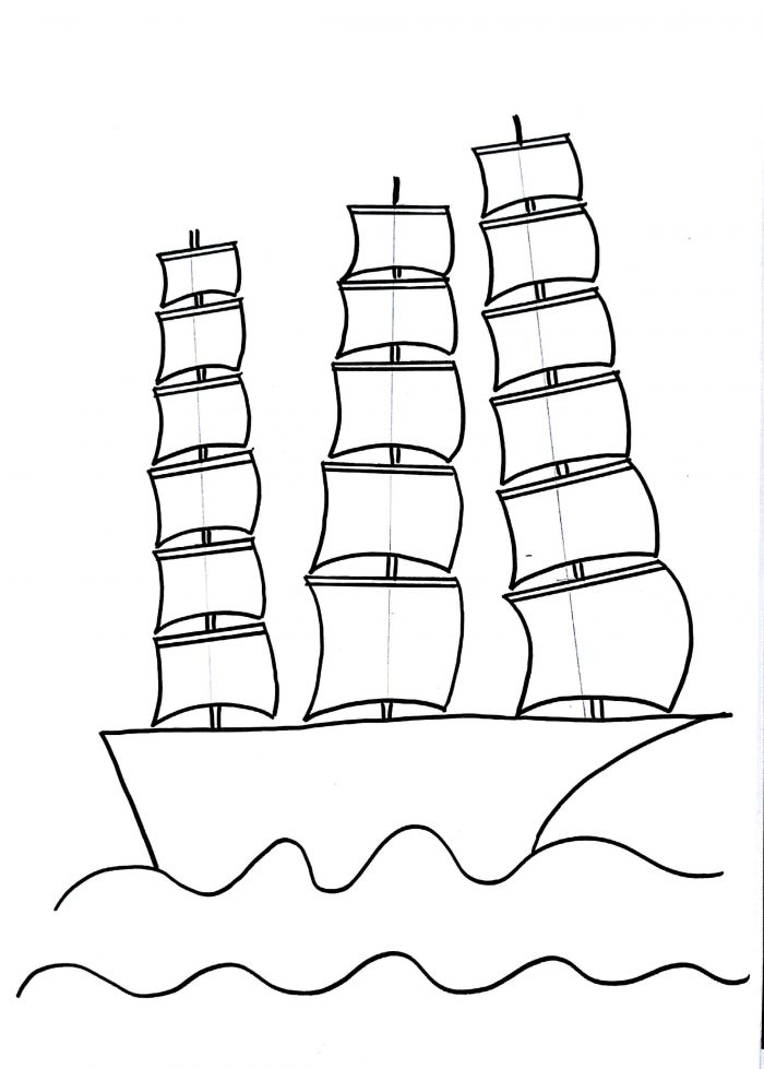 700x979 Sailing Ship Drawing For Kids Step By Step Drawing Tutorial