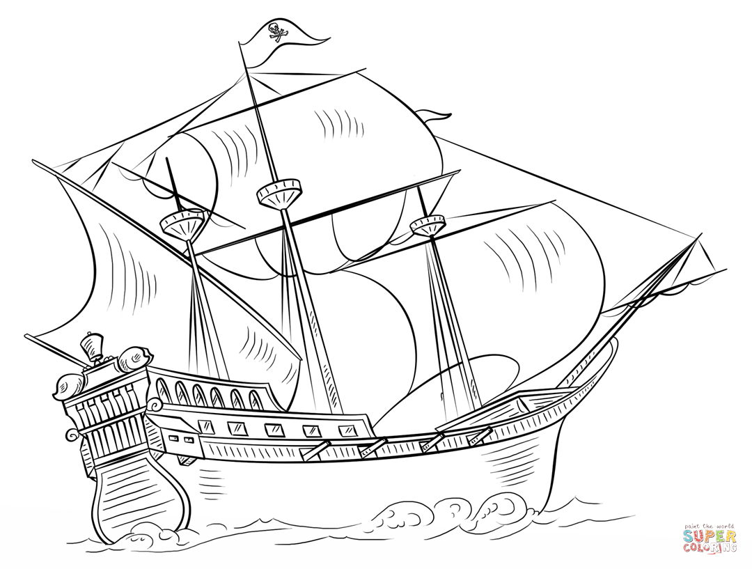1080x817 Printable Pirate Ship Coloring Pages Free For Kids Free Coloring