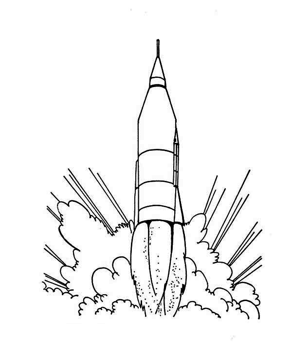 600x734 Rocket Ship Launching Coloring Page For Kids