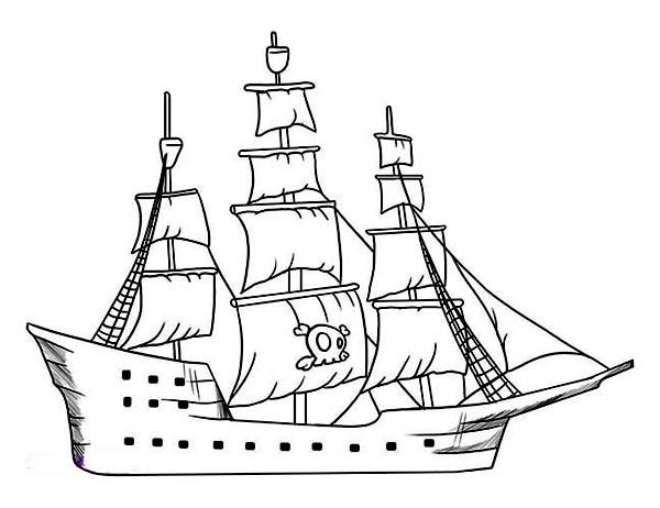 600x462 Pirate Ship, Simple Pirate Ship Galleon Drawing From The Rear