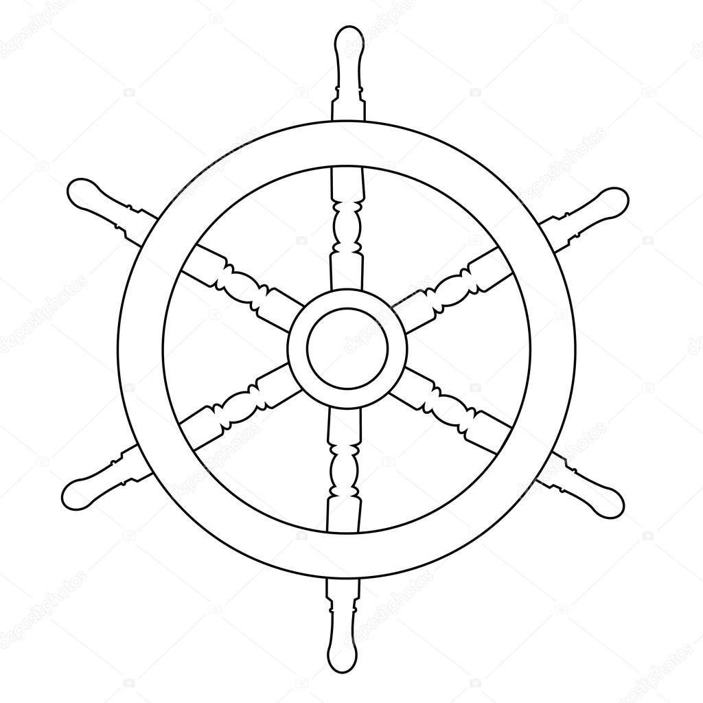 1024x1024 Ship Wheel Outline Drawings Stock Vector Viktorijareut