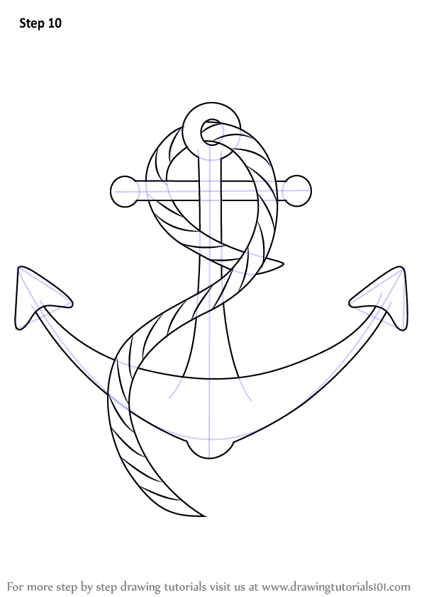 598x843 Learn How To Draw A Boat Anchor (Boats And Ships) Step By Step