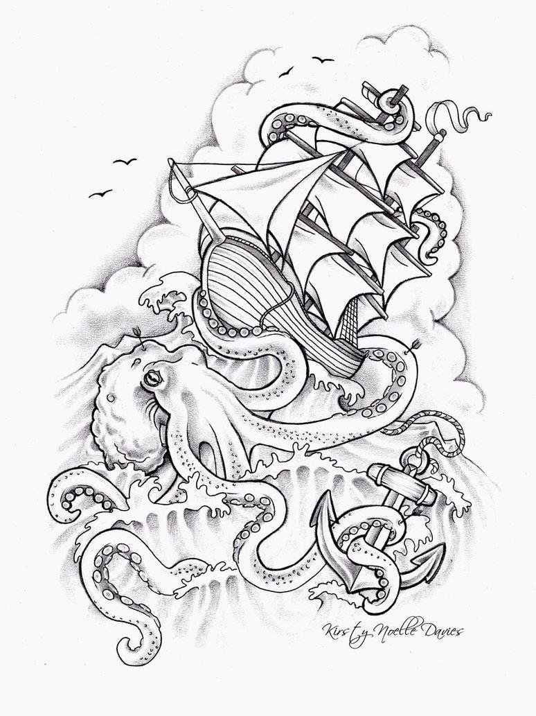 774x1033 Octopus Sinking Ship Tattoo Design By Kirstynoelledavies