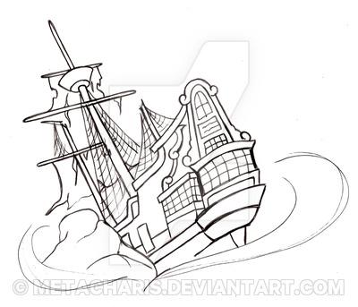 400x343 Pirate Ship Tattoo By Metacharis