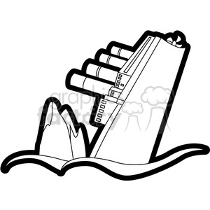 300x300 Royalty Free Sinking Ship From An Iceberg Black And White 398111