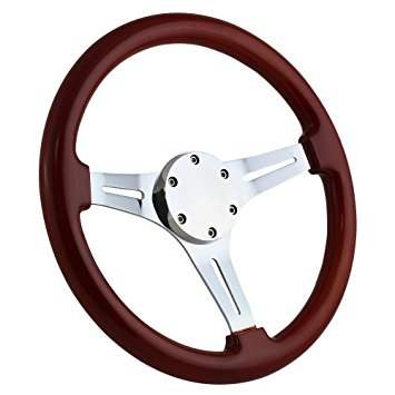 355x355 350mm Chrome Marine Boat Steering Wheel With Mahagony