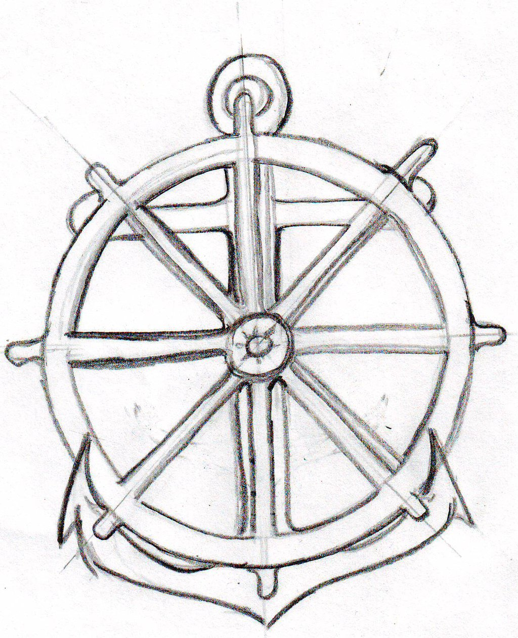 1024x1261 Drawn Anchor Boat Wheel