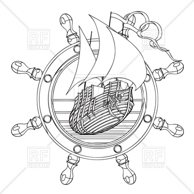 400x400 Hand Drawn Sail Ship And Steering Wheel Emblem Royalty Free Vector