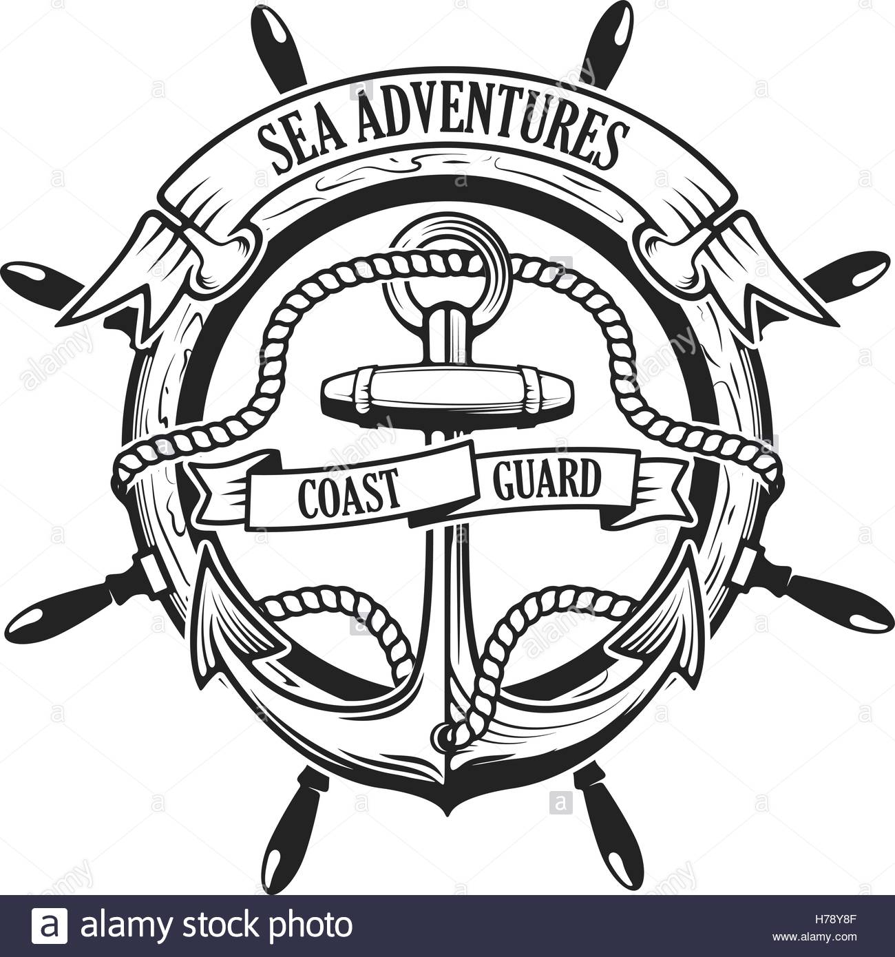 1300x1390 Sea Adventures. Coast Guard. Anchor With Rope And Ribbons On Stock