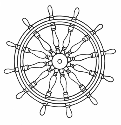 466x480 Ship's Wheel Coloring Page Free Printable Coloring Pages