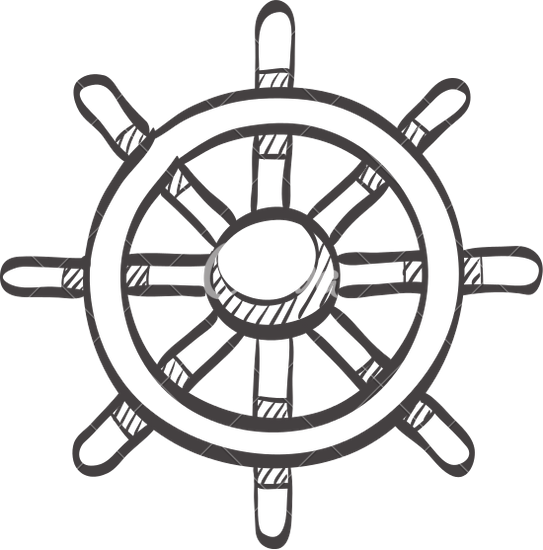 543x550 Sketch Icon Of Ship Steering Wheel