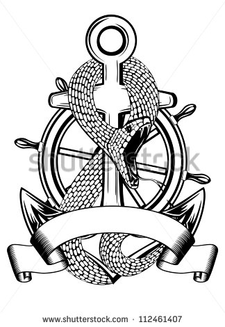 324x470 Anchor Symbol With Ship Steering Wheel Flowers Tattoo