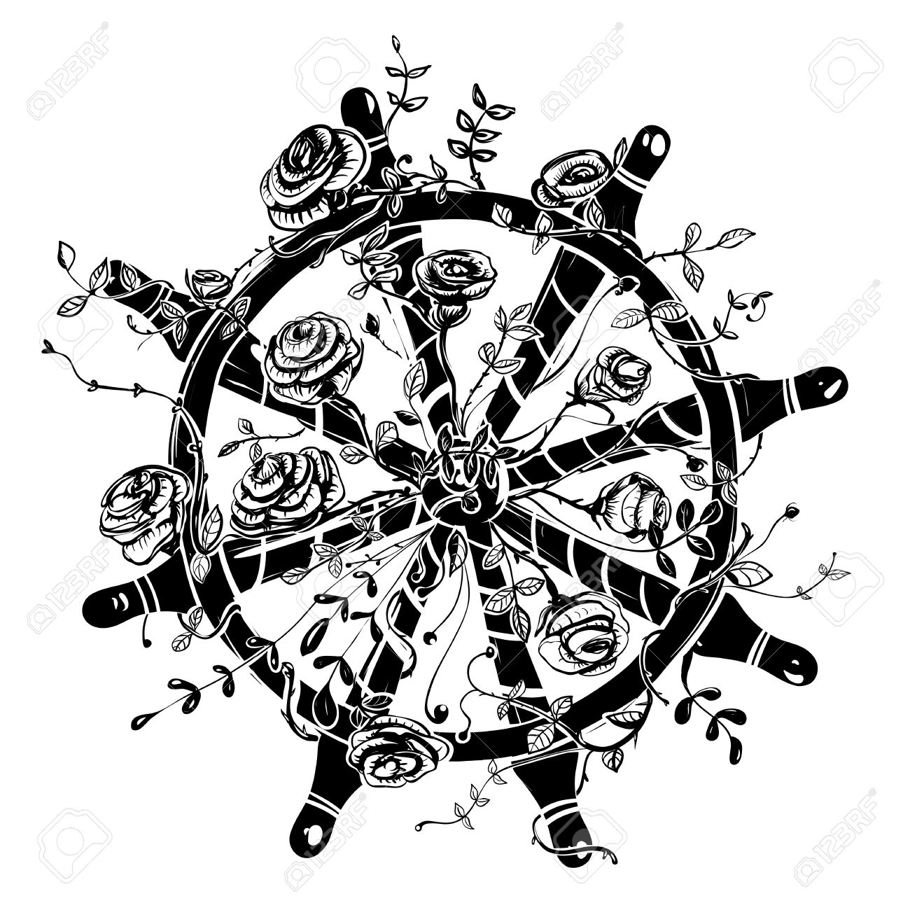 1300x1300 Steering Wheel With Roses Royalty Free Cliparts, Vectors,