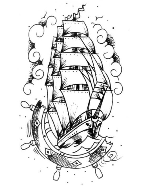 480x622 Tattoo Ship Steering Wheel Drawing Pictures To Pin