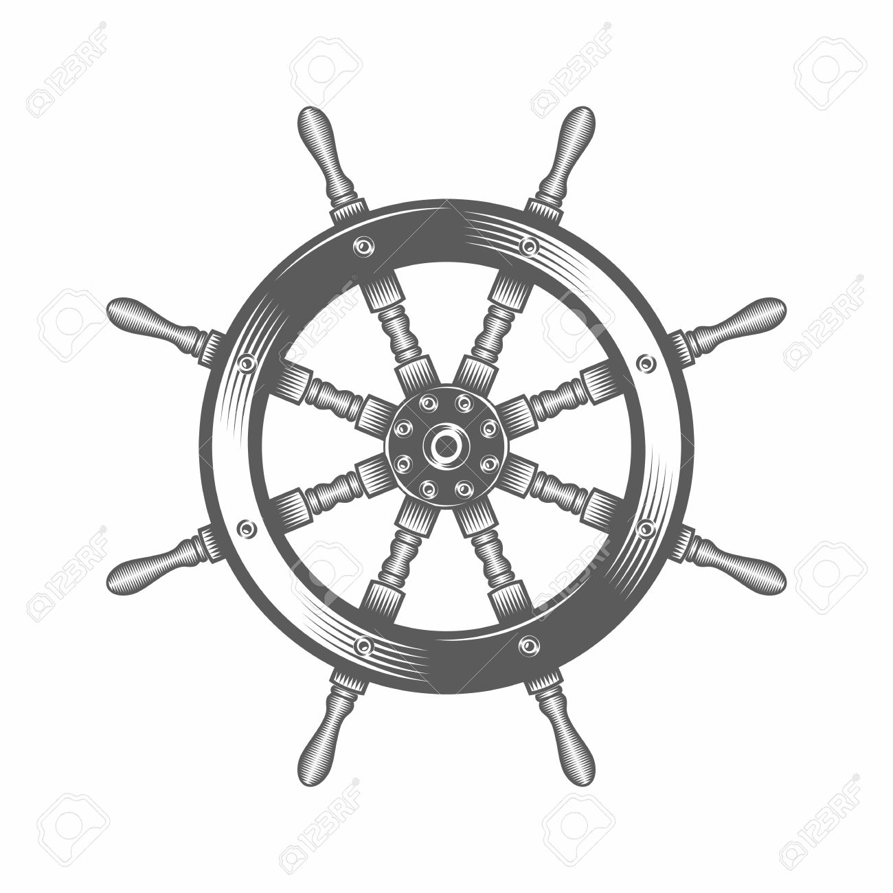 1300x1300 Vector Illustration Of A Steering Wheel Ship In The Old Fashioned