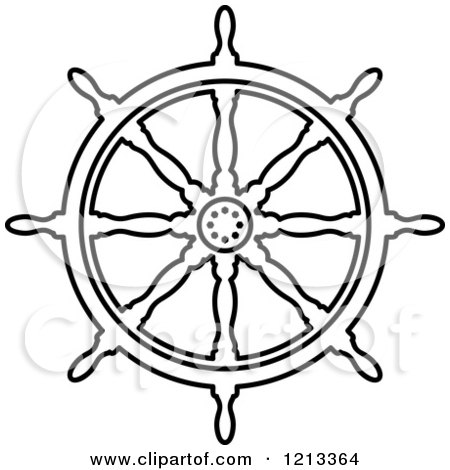 450x470 Clipart Of A Black And White Ship Steering Wheel Helm 3