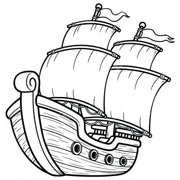 618x618 Coloring Excellent Ship Outline. Ship Outline Art. Pirate Ship