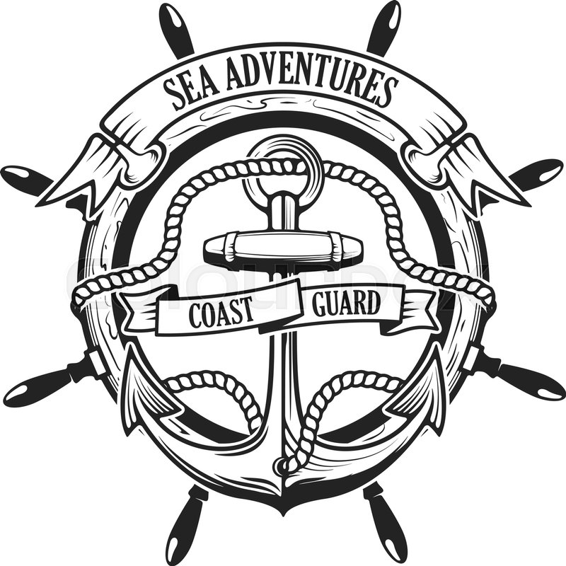 800x800 Sea Adventures. Coast Guard. Anchor With Rope And Ribbons