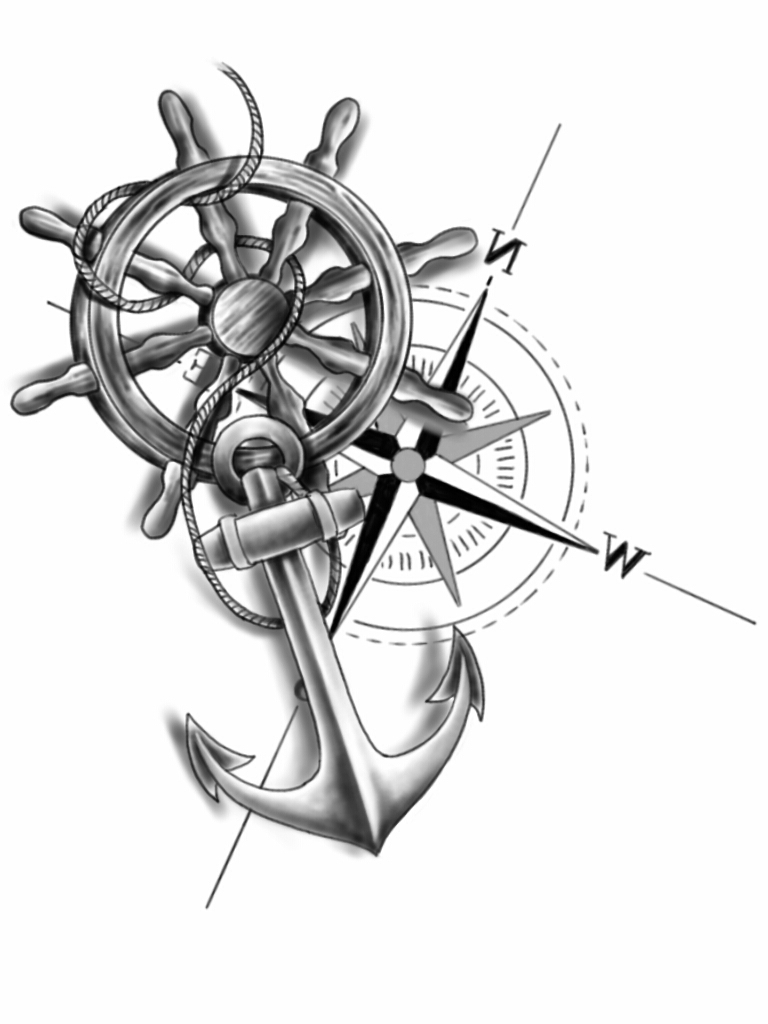 768x1024 Ships Wheel And Anchor Tattoo Sailing Ship + Anchor Poster Print