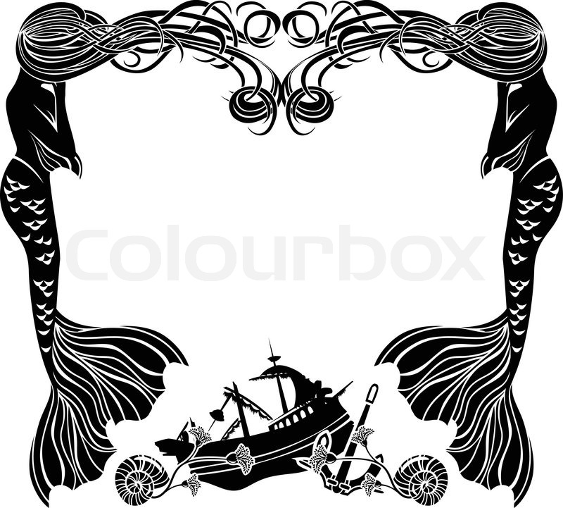 800x721 Frame, Mermaids Weep Shipwreck, Stencil For Sticker Stock Vector