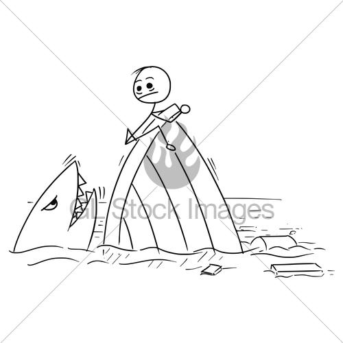500x500 Vector Stick Man Cartoon Of Man Holding On The Shipwreck Gl