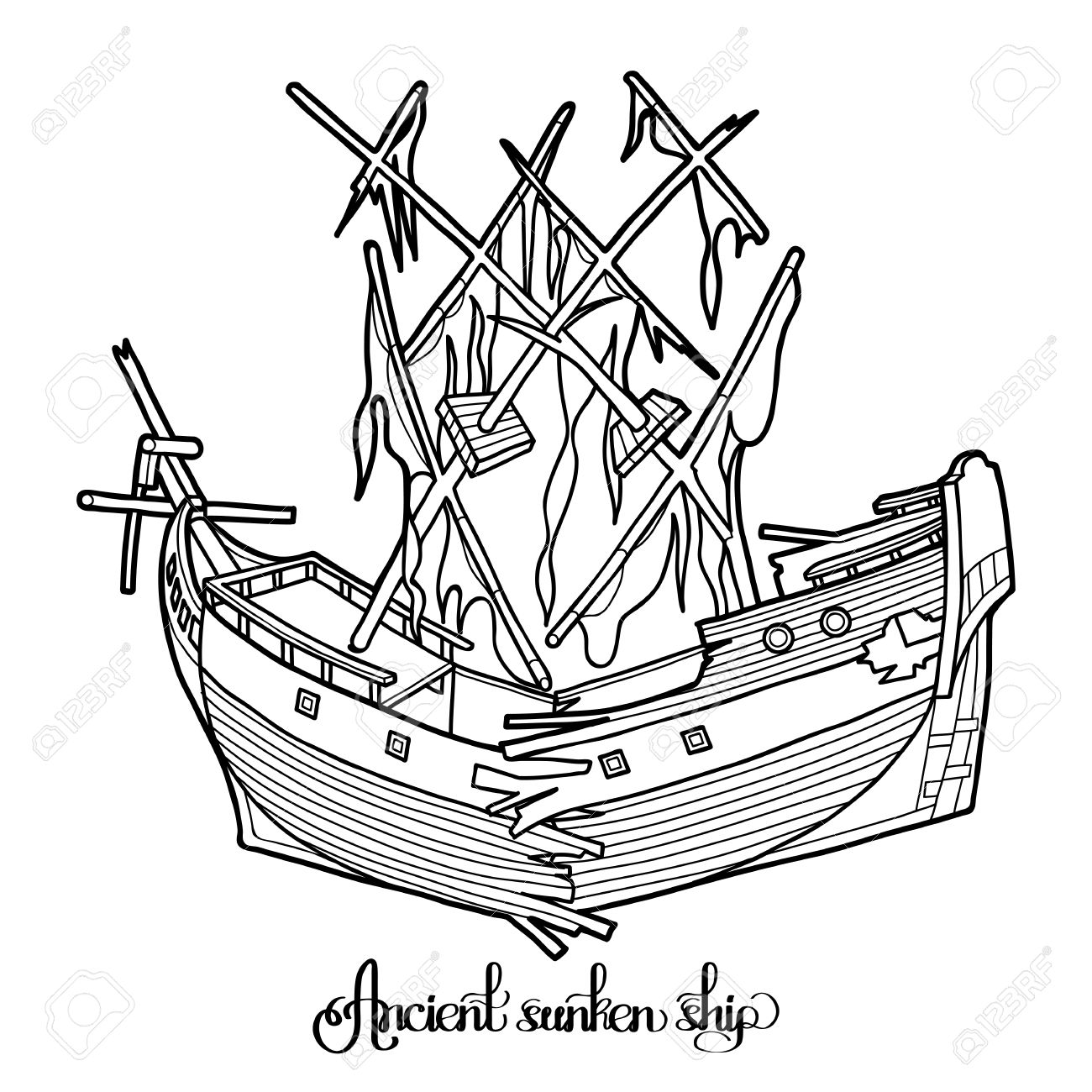 1300x1300 Ancient Sunken Ship. Graphic Vector Illustration Isolated